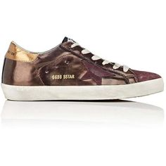 Golden Goose Women's Women's Superstar Leather & Suede Sneakers ($515) ❤ liked on Polyvore featuring shoes, sneakers, suede wedge sneakers, gold metallic sneakers, golden goose sneakers, metallic sneakers and lace up sneakers