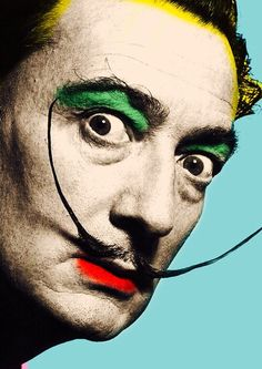 Salvador Dali with face of color art Painted Clothes, Dali, Artsy, Color Art, Caricatures, Movie Posters, Wallpapers, Fictional Characters, People