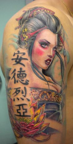 Check Out Beautiful Geisha Tattoos Designs. Geisha tattoos are very popular all over the world and many people adore and prefer to have this tattoo of a woman in very colorful kimono than anything else.