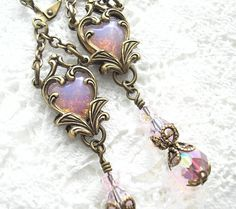 Captured Heart Earrings  Pink Glass Opals by MorningGloryDesigns