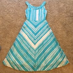 Virginia Johnson cotton summer dress from Anthro! Virginia Johnson 100% cotton dress. Beautiful blue stripes! Great for this summer and spring. Tea Length on me at 5'3. Anthropologie Dresses