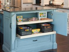 Smart Kitchen Storage Tip: Don't Forget the Kids. Keep little ones busy while you finish up dinner prep with hideaway kitchen storage for art supplies. Blue Kitchens, Kitchen Island Cabinets, Kitchen Cabinet Storage, Kitchen Storage, Kitchen Remodel, Functional Kitchen Island, Kitchen Island Storage, Kitchen Drawers, Kitchen Design