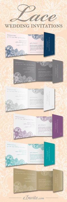 Fall in love with eInvite's personalized Lace All-In-One Wedding Invitations – exquisite lace design and vintage touch. Choose your favorite color and font, and create your one of a kind wedding invitation. More details at eInvite.com