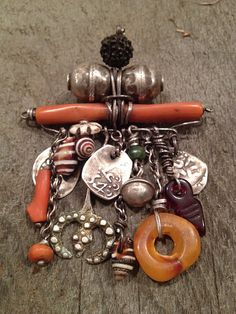 Antique silver, shell, carnelian & coral Berber charms, Morocco