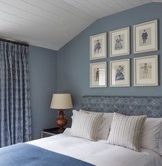 Those amazing designers at Todhunter Earle showcasing Edward Bulmer Natural Paint, and it looks really beautiful. White Bedroom Design, Attic Bedroom Designs, Guest Bedrooms, Master Bedroom, Guest Room, Accent Wall Colors, Accent Wall Bedroom, Contemporary Furniture, Home And Family