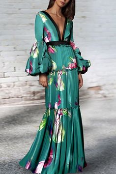 Sexy Floral Print Deep V Collar Long Puff Sleeve Ruffled maxi dress formal maxi dress formal street styles maxi dress formal modest maxi dress formal summer maxi dress formal boho maxi dress formal prom maxi dress formal floral Short Beach Dresses, Sexy Dresses, Evening Dresses, Casual Dresses, Fashion Dresses, Floral Dresses, Floral Maxi, Maxi Dress Summer, Mode Kimono