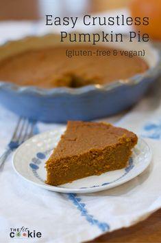 Easy Crustless Pumpkin Pie - Gluten-free & Vegan! - @thefitcookie #glutenfree #pumpkin #vegan
