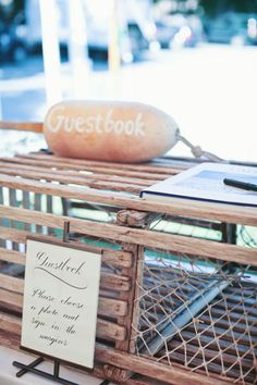 Cape Cod Weddings. Guest Book. Lobster Trap. Photographer: lisarigbyphotography.com #ThePerfectPlan http://www.stylemepretty.com/2011/08/16/the-holden-inn-wedding-by-lisa-rigby-photography/