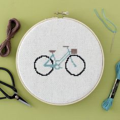 Cross-stitch a trendy bike design for summer!