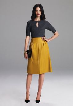Lyn Devon at New York Fashion Week Fall 2012 - Livingly Work Fashion, Fashion Week, Modest Fashion, Womens Fashion, Looks Style, Style Me, Lyn Devon, Mustard Skirt, Mustard Yellow