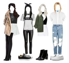 """""""Conquer MV Outfit"""" by official-4squad ❤ liked on Polyvore featuring M.i.h Jeans, Sandy Liang, adidas Originals, Lilli Ann, H&M, Topshop, River Island, Converse, Boohoo and Yves Saint Laurent"""