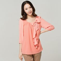 Chiffon Blouse | free shipping fashion blouse & dots chiffon blouse ruffles ib front ...