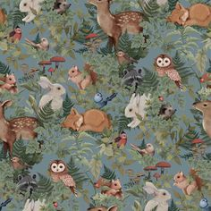 Wallpaper Woodlands Dusty Blue - Store of Daydreams Tier Wallpaper, Wallpaper Paste, Wallpaper Samples, Animal Wallpaper, Pattern Wallpaper, Nursery Wallpaper, Cricket Wallpapers, Blue Wallpapers, Dusty Blue