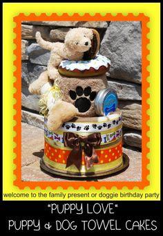 Cute Dog Cake Shape Square Towel Cotton Washcloth Wedding Birthday Gift  MECA
