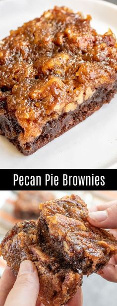 Pecan Pie Brownies are an amazing Thanksgiving dessert recipe that combines two classics, rich, fudgy chocolate brownies, and pecan pie, into one awesome dessert. Pecan pie filling is baked on top of… Fall Desserts, No Bake Desserts, Just Desserts, Sweet Desserts, Fall Deserts Recipes, Tasty Recipes For Dessert, Thanksgiving Chocolate Desserts, Awesome Desserts, Brownie Desserts