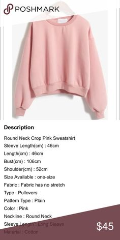 COMING SOON! Round Neck Crop Pink Sweatshirt LIKE THIS LISTING TO BE NOTIFIED WHEN IN STOCK Tops Sweatshirts & Hoodies