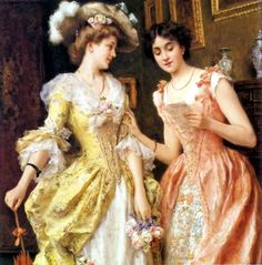 rococo movement, women in France. Panniers, or wide hoops worn under the skirt that extended sideways, became a staple. Arte Fashion, Rococo Fashion, Art Ancien, Under The Skirt, Rococo Style, Victorian Art, Victorian Women, Marie Antoinette, European Fashion