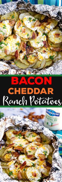 Bacon Ranch Grilled Potatoes - Sliced potatoes flavored with real Ranch dressing. - Bacon Ranch Grilled Potatoes – Sliced potatoes flavored with real Ranch dressing, bacon and chees - Potato Dishes, Food Dishes, Dinner Dishes, Dinner Menu, Grilled Potato Recipes, Chicken Recipes, Salmon Recipes, Tilapia Recipes, Grilling Recipes