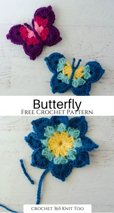 Easy and fast crochet butterfly pattern. Great as a magnet or to embellish something special. Crochet Butterfly Free Pattern, Crochet Flower Patterns, Crochet Patterns Amigurumi, Crochet Motif, Crochet Designs, Crochet Flowers, Fast Crochet, Crochet Leg Warmers, Crochet Bookmarks