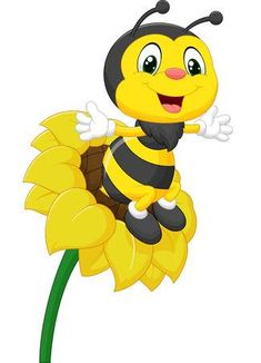 Illustration of Bee cartoon character on the flower vector art, clipart and stock vectors. Cartoon Bee, Cute Cartoon, Flower Vector Art, Cute Butterfly, Cute Bee, Bee Art, Bee Theme, Banner Printing, Bee Happy