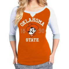Oklahoma State Cowboys Womens Colorblock Baseball Long Sleeve T-Shirt – Orange