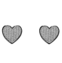 Nasrin Pave Heart Stud Earrings | Cubic Zirconia | Silver