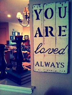 You Are Loved Pallet Sign wall decoration - fram - quotes Wood Pallet Signs, Pallet Art, Wood Pallets, Wooden Signs, Cute Signs, Diy Signs, Wall Signs, Pallet Crafts, Wood Crafts