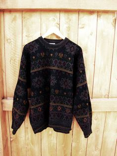 vintage oversized grandpa sweater. tribal pattern slouchy sweater. size L  to XL. made in Italy. Giorgio. hipster c7df6b621