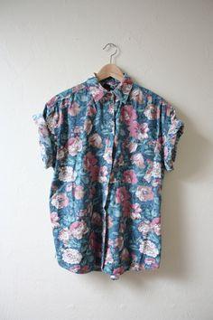 Blue Floral Vintage Rolled Sleeve Button Up Boyfriend Top