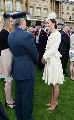 Pin for Later: Kate Middleton and Prince William Steal Cute Looks Behind the Queen's Back During a Garden Party