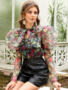 Tie Neck Leg-of-mutton Sleeve Floral Organza Top Chic Outfits, Dress Outfits, Fashion Dresses, Leather Look Shorts, Leg Of Mutton Sleeve, Sleeves Designs For Dresses, Frack, Mode Chic, Trendy Fashion