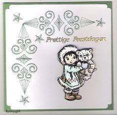 Voorbeeldkaart - Eskimo met ijsbeer - Categorie: Kerstkaarten - Hobbyjournaal uw hobby website