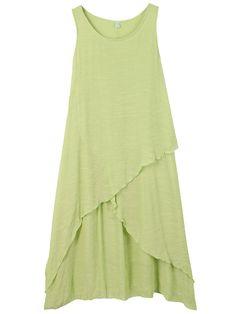 Casual Women Sleeveless Solid Irregular Cotton Linen Dress