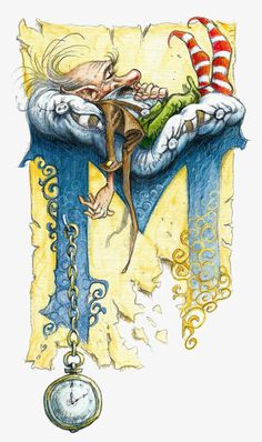 Le grand livre des korrigans Fairy Drawing Dwarf Gnome - Letter M clocks and sleeping dwarf the old man / by Pascal Moguerou Fantasy Kunst, Fantasy Art, Art And Illustration, Art Fantaisiste, Painting & Drawing, Drawing Pin, Dibujos Cute, Illuminated Letters, Fairy Art