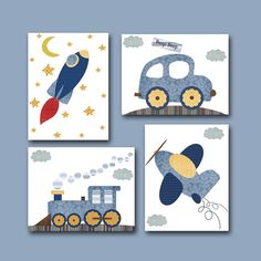 Car Rocket Plane Train Baby Boy Nursery decor Children Art Print Baby Nursery Print Nursery Print set of 4 11x14 blue gray yellow