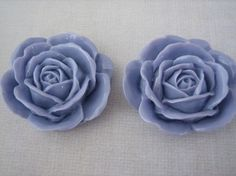 2PCS  Lilac Purple Rose Cabochons  38mm Shiny Finish  by ZARDENIA, $3.45