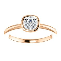 10kt Rose Gold 5mm Center Cubic Zirconia Cushion Ring...(ST71871:476:P).! Price: $249.99