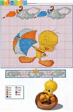 Cartoon Cross Stitch Patterns | Gallery Cross stitch pa… Children Cartoons Tweety with umb…