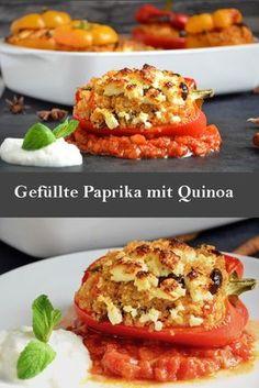 Paprika gefüllt mit Quinoa und Schafskäse, ein super leckeres und vegetarisches Rezept. Quinoa sehr gesundes und leckeres Getreide aus Südamerika.