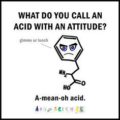 Read funny chemistry jokes, chemistry puns and chemistry pick up lines. Laugh with Chemistry Jokes for free! Funny Science Jokes, Nerd Jokes, Puns Jokes, Science Memes, Funny Puns, Funny Humor, Nerd Funny, Most Funny Jokes, Math Puns