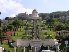The Terraces of the Bahá'í Faith, also known as the Hanging Gardens of Haifa, are garden terraces around the Shrine of the Báb on Mount Carmel in Haifa, Israel Holidays Around The World, Places Around The World, Around The Worlds, Wonderful Places, Beautiful Places, Amazing Places, Baha I Faith, November Holidays, Pilgrimage