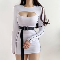 Casual round neck low-cut openwork sexy waist belt long-sleeved dress · FE CLOTHING · Online Store Powered by Storenvy Stage Outfits, Kpop Outfits, Edgy Outfits, Korean Outfits, Grunge Outfits, Dress Outfits, Girl Outfits, Cute Outfits, Fashion Outfits