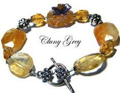The Jewelry Blog - Citrine Bracelet with Amethyst Flower Cluny Grey Jewelry http://www.clunygreyjewelry.com
