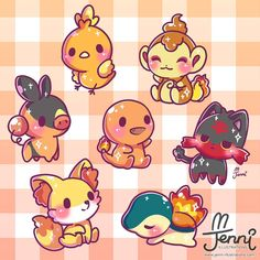 Fire type starters all around O Pokemon, Pokemon Comics, Pokemon Memes, Pokemon Fan Art, Cute Kawaii Drawings, Cute Animal Drawings, Kawaii Chibi, Kawaii Art, Photo Pokémon