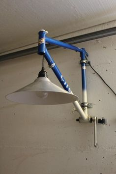 Upcycling unique from recycled material. Bicycle parts lamp. Lamp with reuse . Upcycling unique from recycled material. Bicycle parts lamp. Lamp with reused bike frame Source by veganisstgruen Industrial Light Fixtures, Industrial Lighting, Industrial Pipe, Cheap Home Decor, Diy Home Decor, Bar Deco, Recycled Bike Parts, Woodworking Projects, Diy Projects
