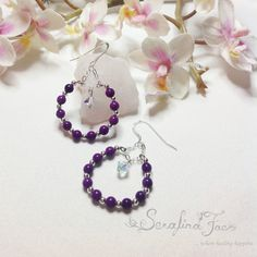 Purple Sugilite Hoop Earrings Fashion Jewelry Beautiful Jewelry The perfect Gift Gifts for Her Christmas Gift Birthday Anniversary