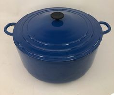 Le Creuset Model K Round Dutch Oven 13 QT Blue WITH LID Pre-owned but in great condition! Well scrubbed and polished and ready to eat from! Super shiny clean! There are a few scuffs and marks from previous use! There are a few chips to rim of the bowl from previous use! Color is still a very vibrant blue Minimal wear to the inner pot! Lid and Bottom are marked with model K The pot weighs 22 pounds Measurements: 13.5 inches long X 13.5 wide inches X 6 inches deep See photos! Best Of Wishes, Le Creuset Cookware, Dutch Oven, 6 Inches, Kitchen Dining, Minimal, Chips, Vibrant, Deep