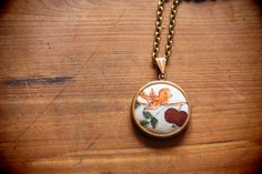 Bird on a Branch Fabric Pendant Necklace by horseandharevintage, $30.00
