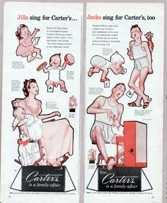 Vintage CARTER UNDERWEAR Advertising Paper Dolls 1948 uncut/PIANO SING ALONG #PaperDolls