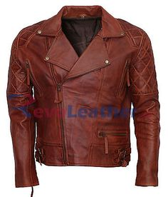 Vintage Casual Men's Biker Diamond Quilted Sleeves Distressed Motorcycle Jacket